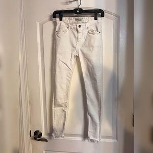 Zara White Jeans Frayed Hem